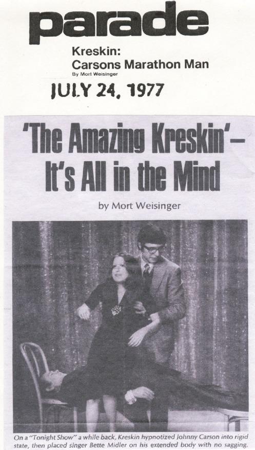 Kreskin, Bette Midler, Johnny Carson